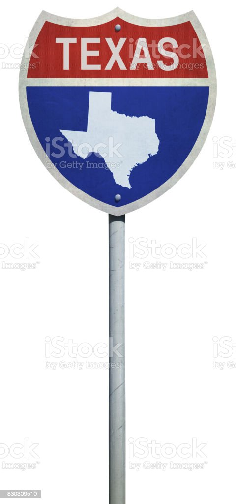 Map Of Texas Highways And Interstates.Highway Sign For Interstate Road Map Of Texas Isolated On White