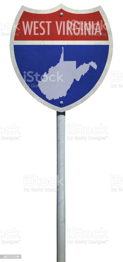Highway sign for Interstate West Virginia road isolated on white stock photo