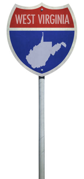 Highway sign for Interstate West Virginia road isolated on white Highway sign for Interstate West Virginia road isolated on white west virginia us state stock pictures, royalty-free photos & images
