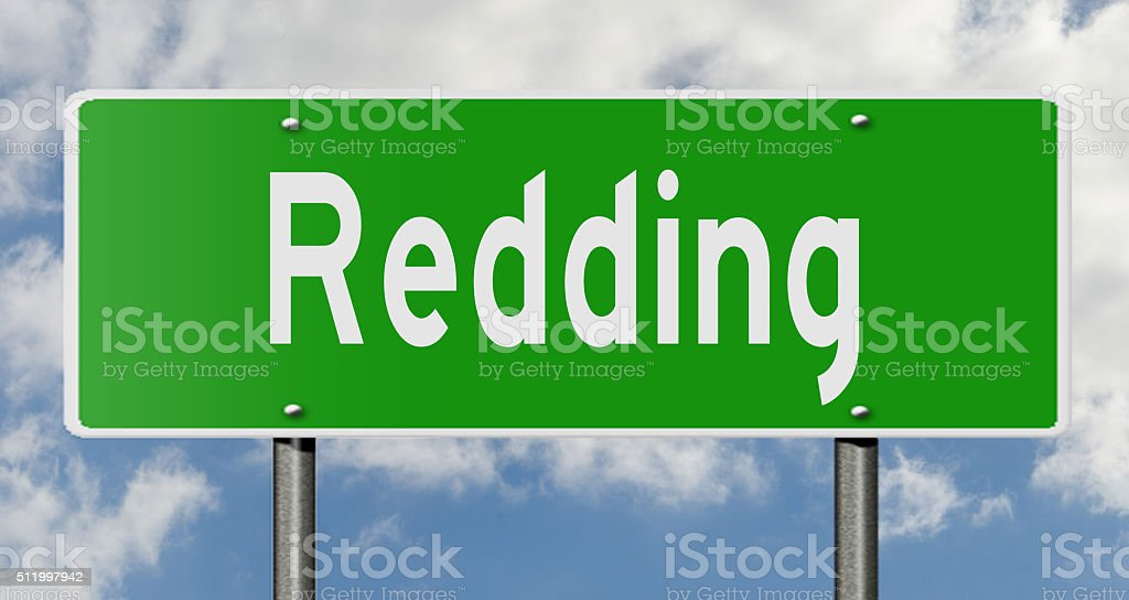 Highway sign for Redding stock photo