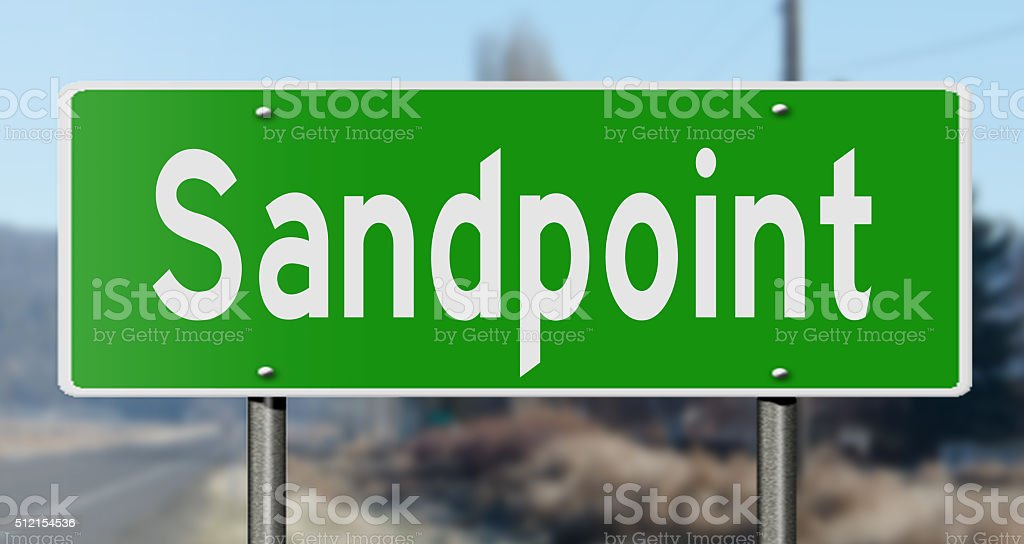 Highway sign for Sandpoint stock photo