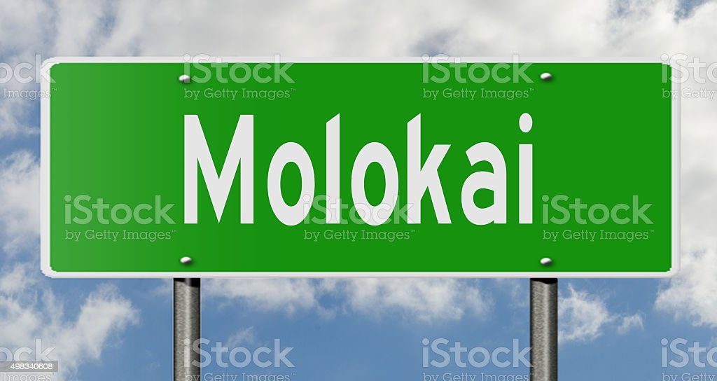 Highway sign Molokai stock photo