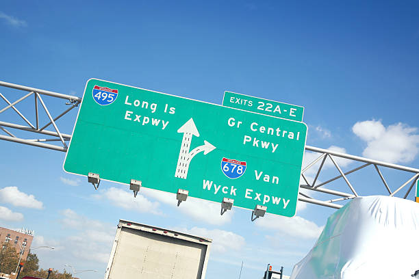 Highway Sign To Long Island stock photo