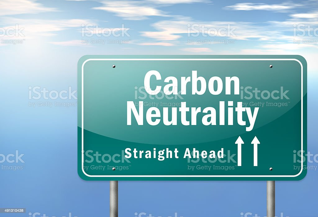 Highway Signpost Carbon Neutrality stock photo