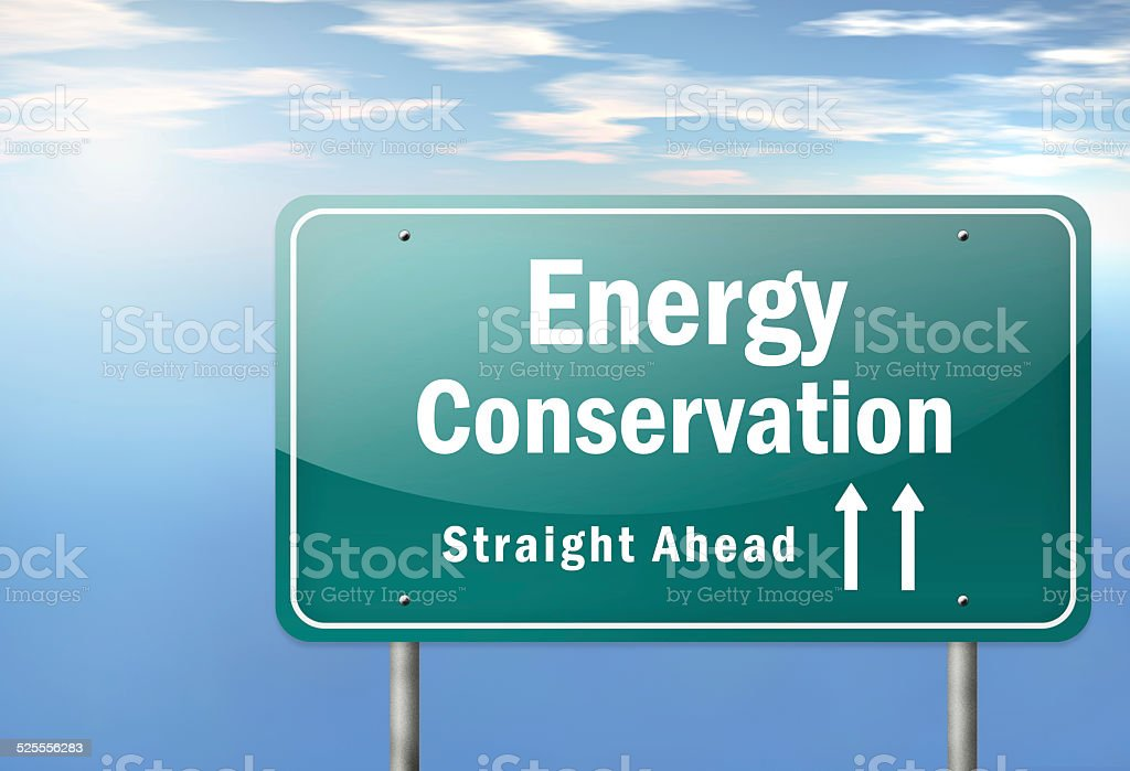 Highway Signpost Energy Conservation stock photo