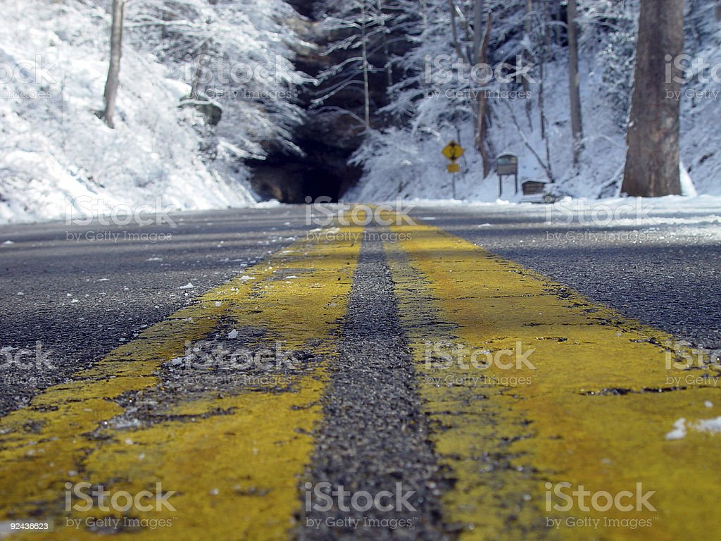 Highway Snow royalty-free stock photo