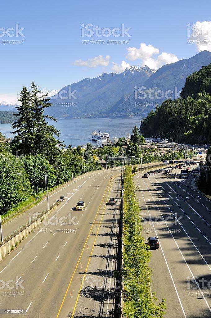 Highway starting from Horseshoe Bay stock photo