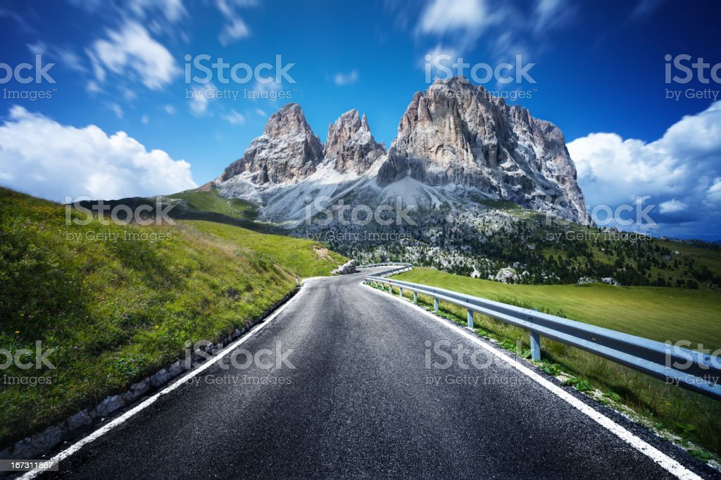Highway through Dolomites valley. Northern italy. stock photo