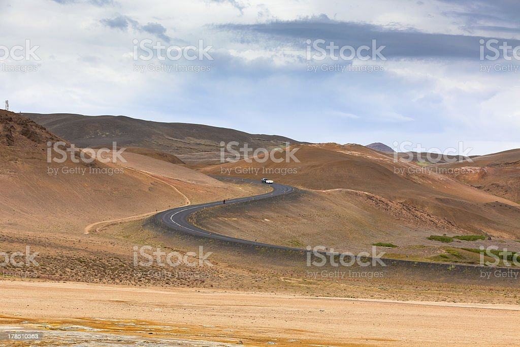 Highway through Iceland Mountains landscape. Hverir sulfuric spr royalty-free stock photo