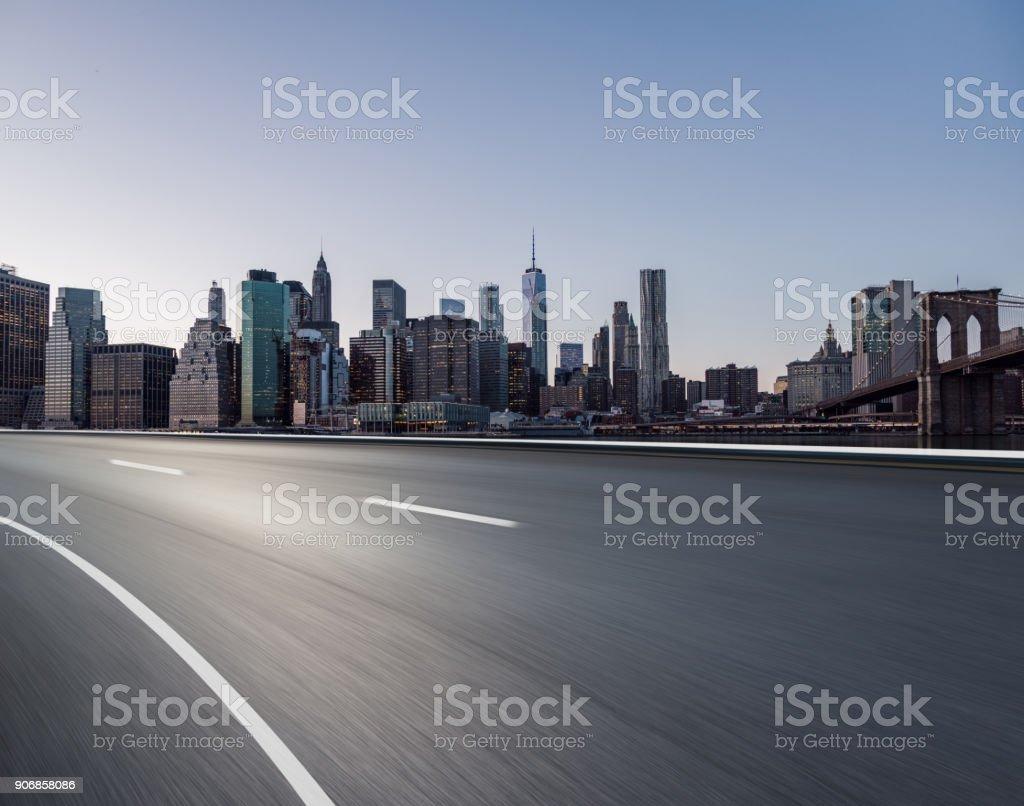 Highway through Manhattan stock photo
