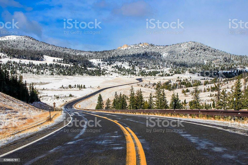 Highway Through Snow stock photo