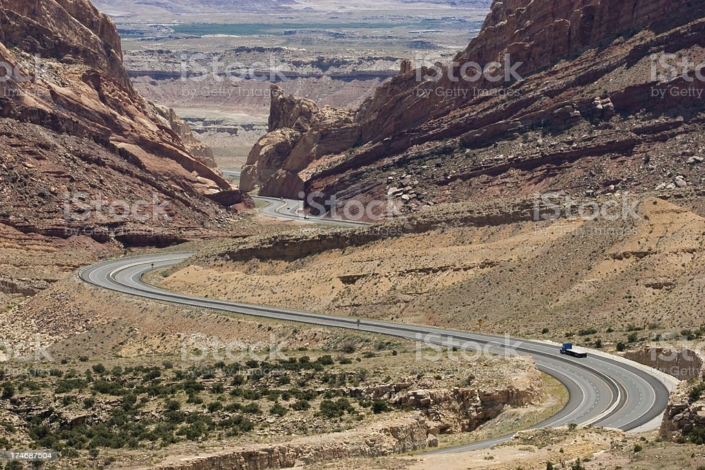 I-70 highway through Spotted Wolf Canyon, Utah royalty-free stock photo