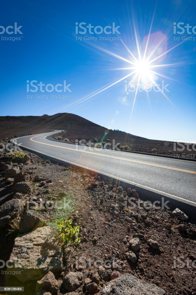 highway to haleakala volcano peak, maui island, hawaii stock photo