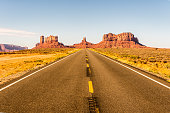 Lone highway to Monument Valley.