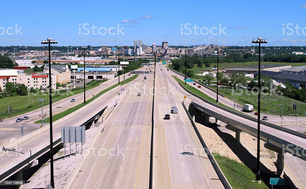 Highway to Peoria Illinois stock photo