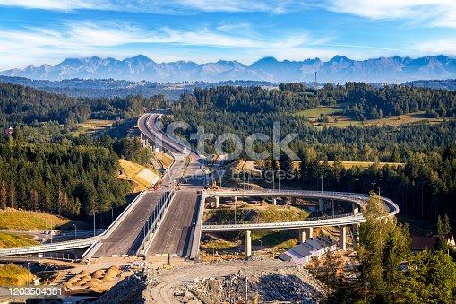 Construction of the new S7 highway in Skomielna Biala, Poland