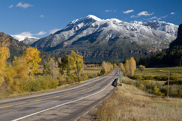 Highway to Wolf Creek Pass, Colorado stock photo
