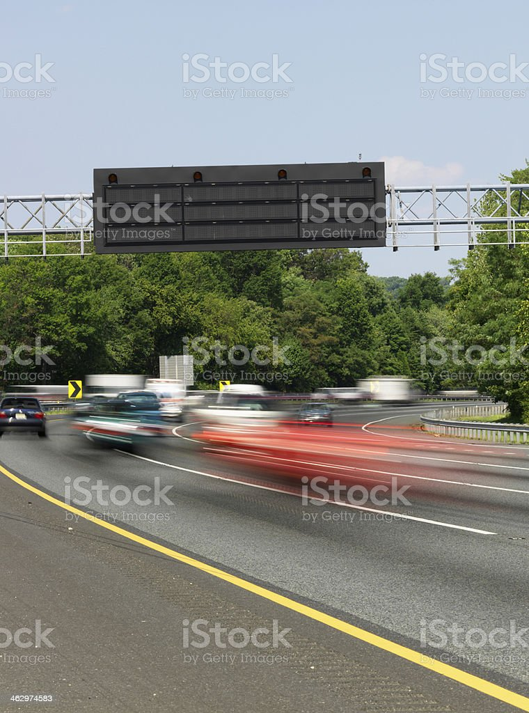 Highway Traffic Alert Signage stock photo