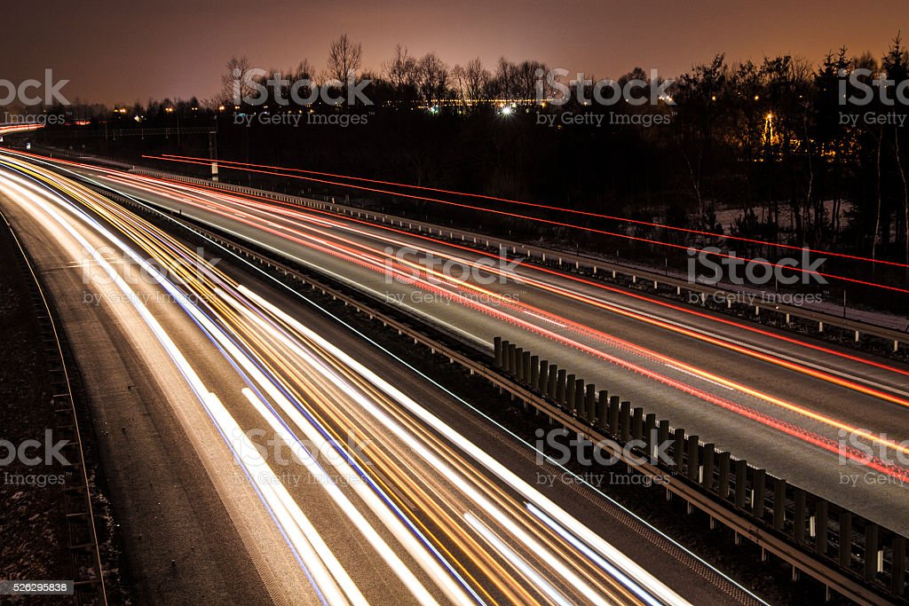 Highway Traffic at Night stock photo