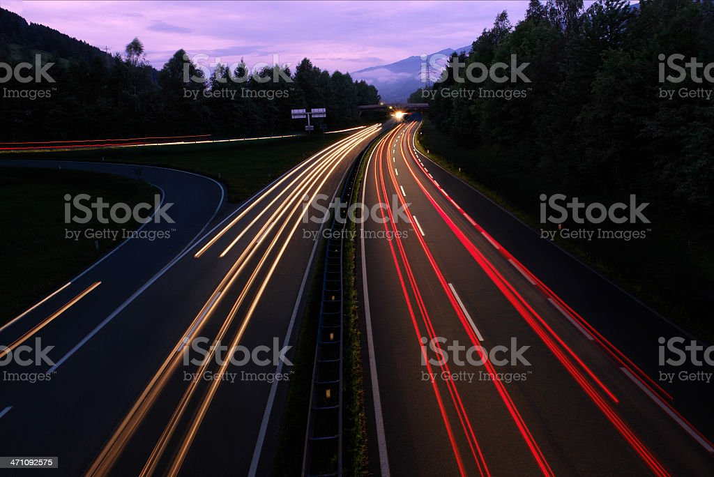Highway Traffic by Night royalty-free stock photo