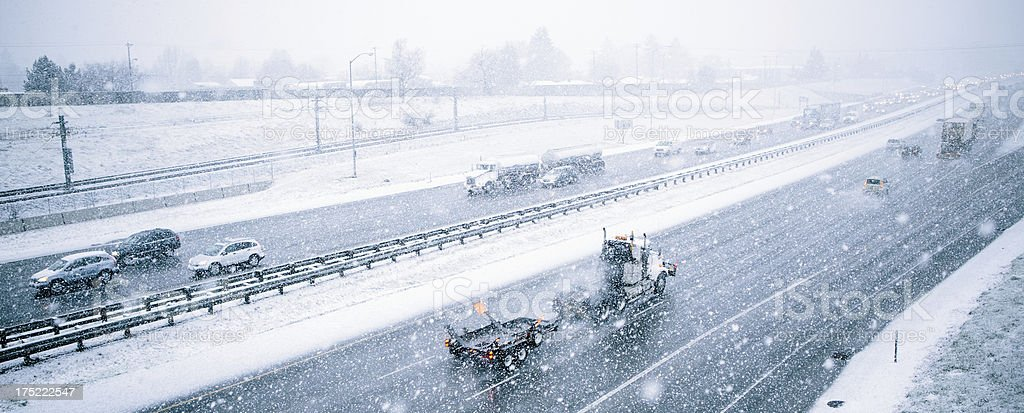 Highway Traffic in Snowy Weather stock photo