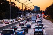 Highway traffic to Jacksonville, Florida, US