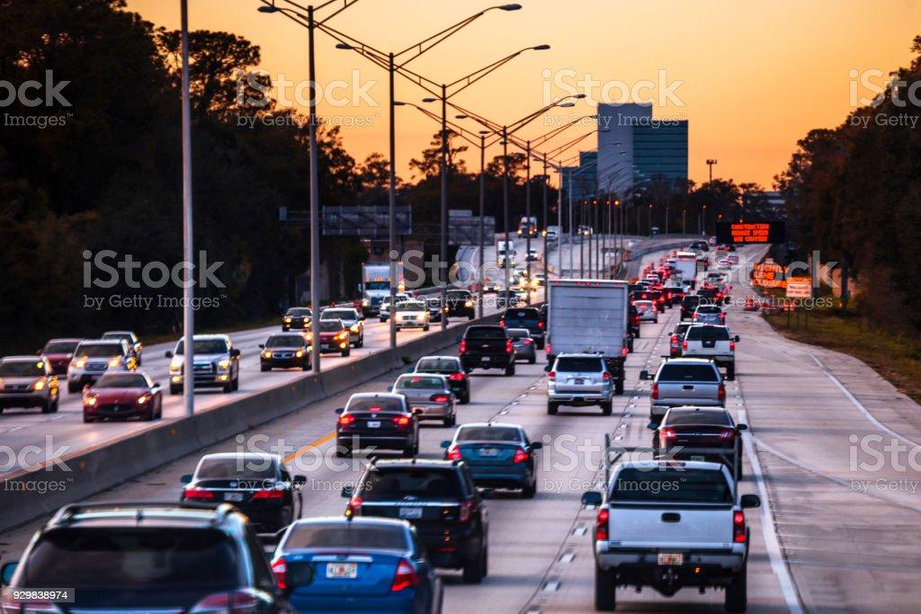 Highway traffic - Jacksonville, Florida stock photo