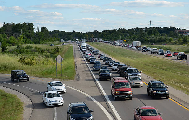 Highway traffic near Ann Arbor, MI stock photo
