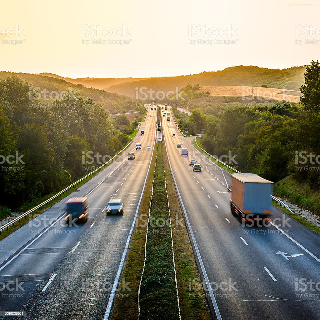 Highway traffic stock photo