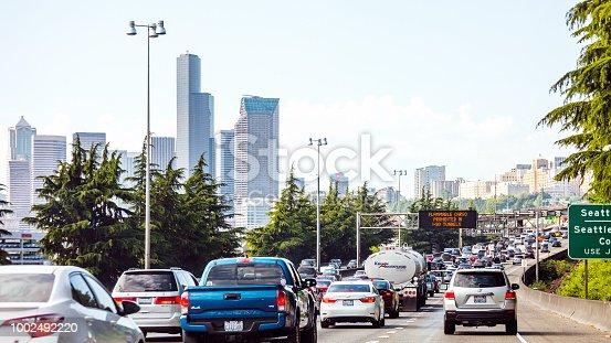 Interstate traffic to Seattle, Washington, USA