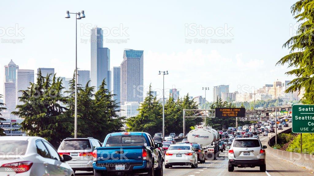 Highway traffic - Seattle, Washington stock photo
