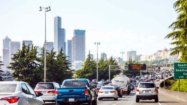highway traffic - seattle, washington - traffic stock photos and pictures