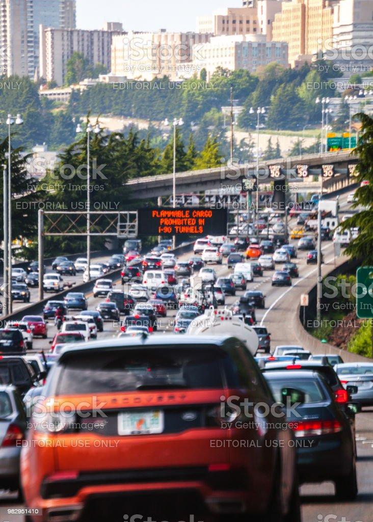 Highway traffic to Seattle, Washington stock photo