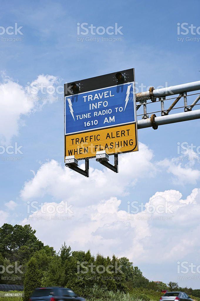 Highway Travel Alert Sign stock photo