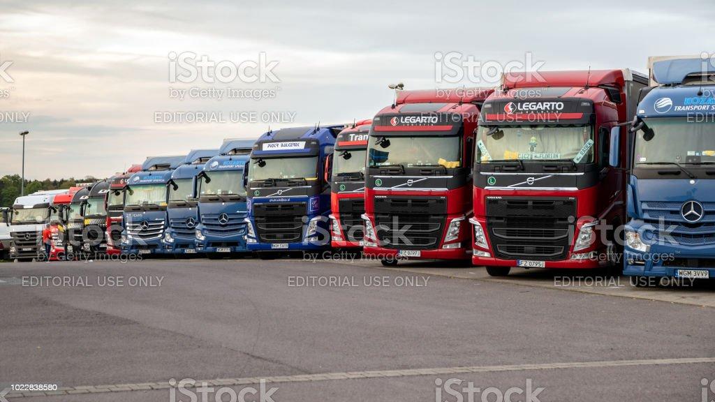Highway truck stop stock photo