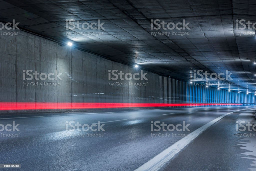 Highway tunnel. Interior of an urban tunnel without traffic. stock photo