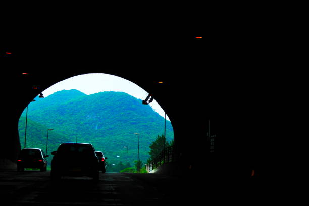 Highway tunnel. stock photo