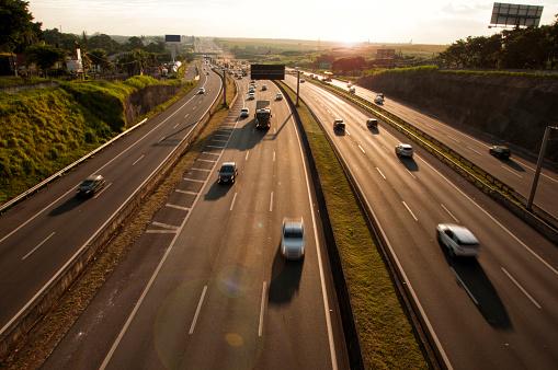 highway seen over the golden hour
