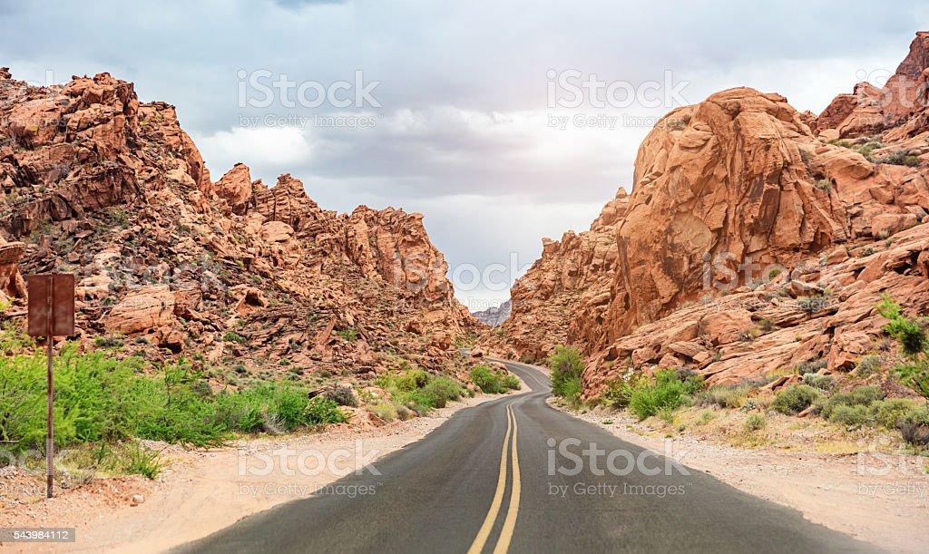 Highway Valley of Fire State Park Nevada USA stock photo