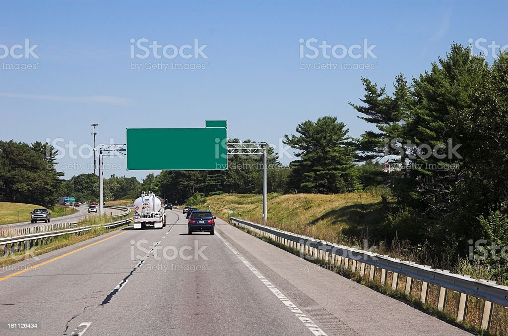 Highway with empty green road signs royalty-free stock photo