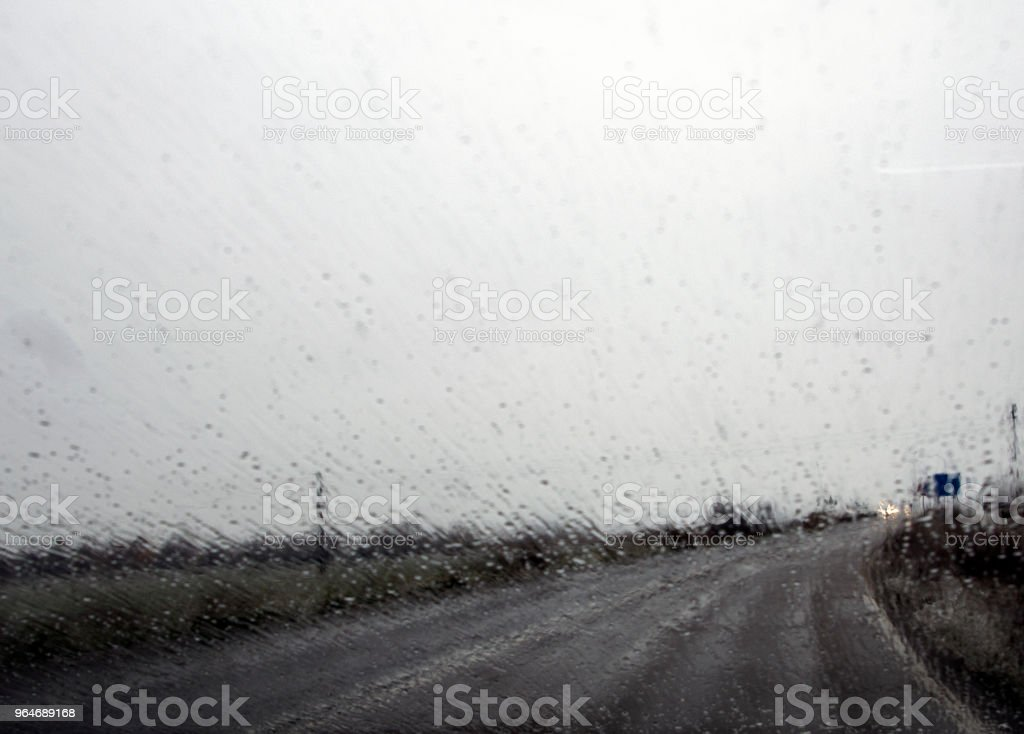 Highway with rain royalty-free stock photo