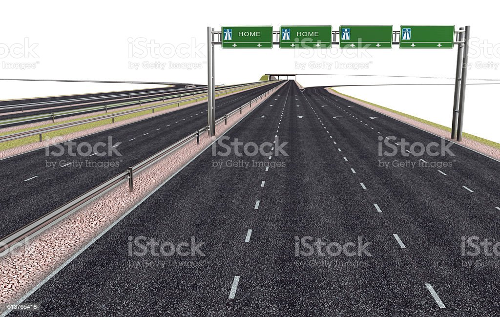 highway with road sign above isolated stock photo