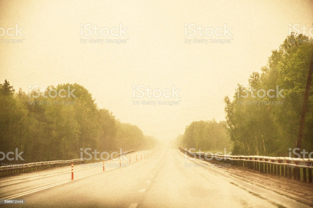 A Highway With Strong Fog Trees Growing Around The Road Film Grain And Tone  Effects Stock Photo - Download Image Now