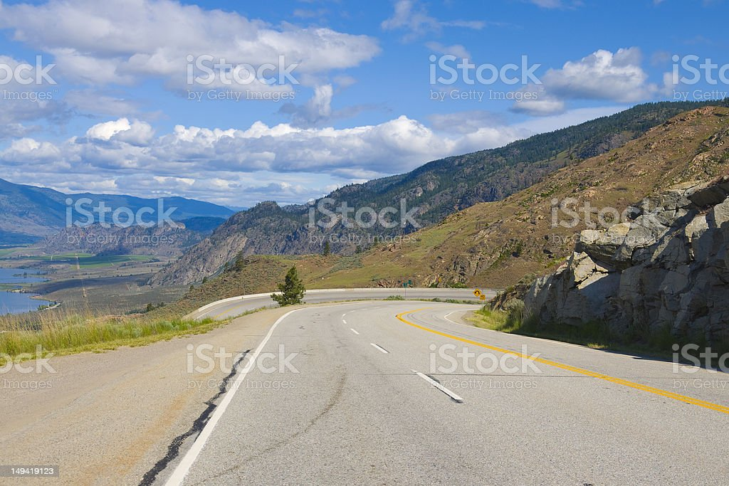Highwayl view of Osoyoos Wine Valley stock photo