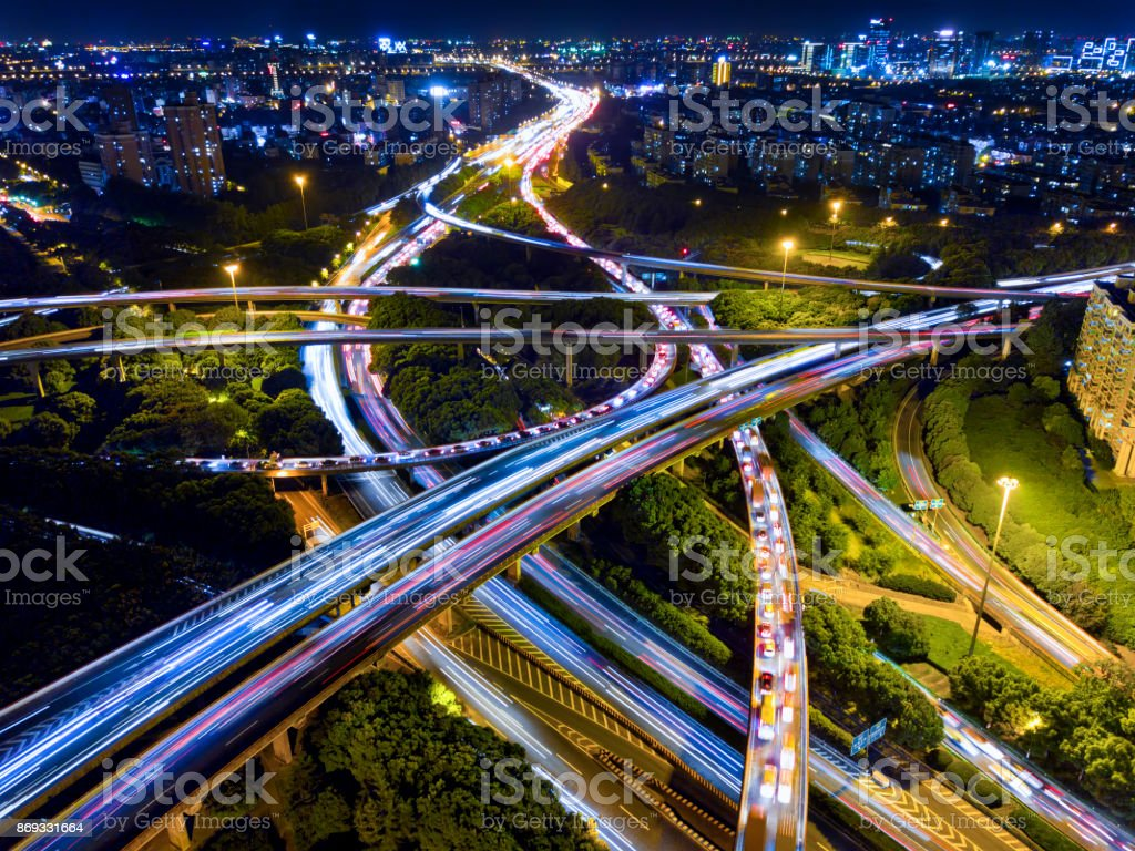 Highways at night stock photo