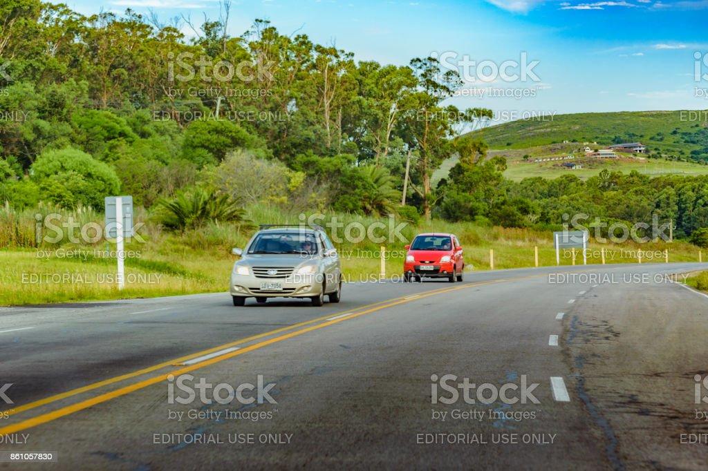 Higway at Rural Environment, Uruguay stock photo