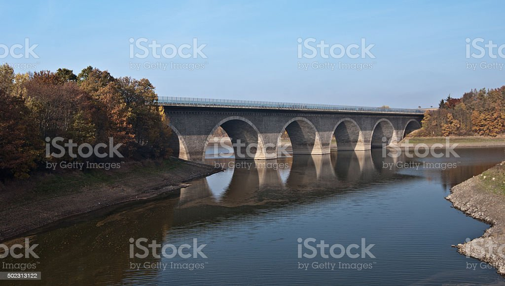 higway bridge above Pohl water reservoir stock photo
