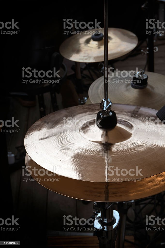 hi-hat and cymbals on stage, musical instruments stock photo