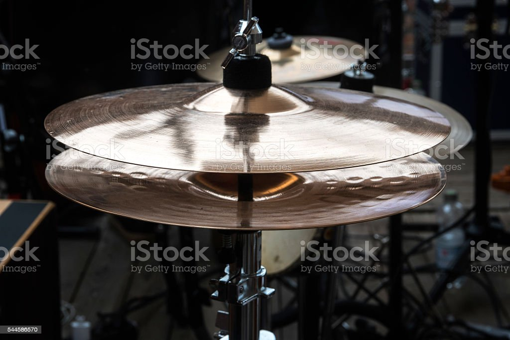 hi-hat on stage, combination cymbal in a percussion drum kit stock photo