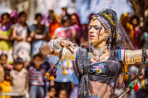 Sabbalpura,India - March 15, 2014: Portrait of an Indian Hijra (hermaphrodite) dressed up for a dancing performance. Model released.